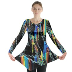 Abstract 3d Blender Colorful Long Sleeve Tunic