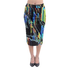 Abstract 3d Blender Colorful Midi Pencil Skirt