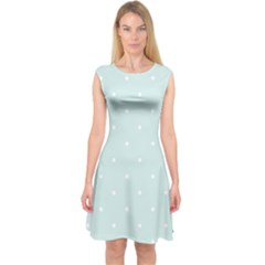 Mages Pinterest White Blue Polka Dots Crafting  Circle Capsleeve Midi Dress
