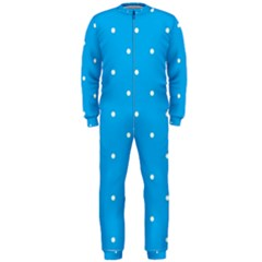 Mages Pinterest White Blue Polka Dots Crafting Circle Onepiece Jumpsuit (men)