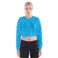 Mages Pinterest White Blue Polka Dots Crafting Circle Women s Cropped Sweatshirt