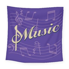 Music Flyer Purple Note Blue Tone Square Tapestry (large)