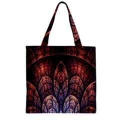 Abstract Fractal Zipper Grocery Tote Bag