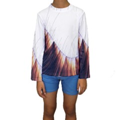 Abstract Lines Kids  Long Sleeve Swimwear