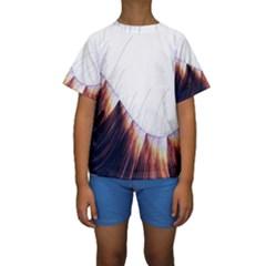 Abstract Lines Kids  Short Sleeve Swimwear