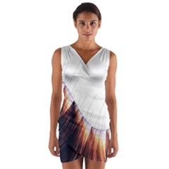 Abstract Lines Wrap Front Bodycon Dress