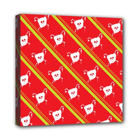 Panda Bear Face Line Red Yellow Mini Canvas 8  X 8