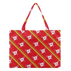 Panda Bear Face Line Red Yellow Medium Tote Bag