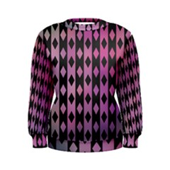Old Version Plaid Triangle Chevron Wave Line Cplor  Purple Black Pink Women s Sweatshirt