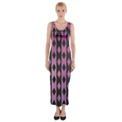 Old Version Plaid Triangle Chevron Wave Line Cplor  Purple Black Pink Fitted Maxi Dress