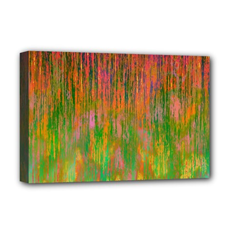 Abstract Trippy Bright Melting Deluxe Canvas 18  x 12