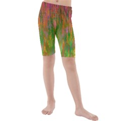 Abstract Trippy Bright Melting Kids  Mid Length Swim Shorts