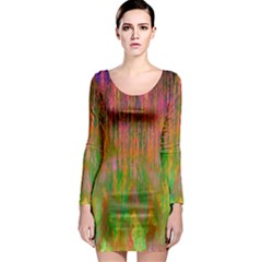 Abstract Trippy Bright Melting Long Sleeve Bodycon Dress