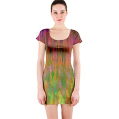 Abstract Trippy Bright Melting Short Sleeve Bodycon Dress