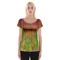 Abstract Trippy Bright Melting Women s Cap Sleeve Top