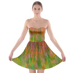 Abstract Trippy Bright Melting Strapless Bra Top Dress