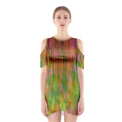 Abstract Trippy Bright Melting Shoulder Cutout One Piece