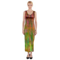 Abstract Trippy Bright Melting Fitted Maxi Dress