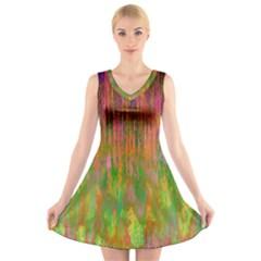 Abstract Trippy Bright Melting V-Neck Sleeveless Skater Dress