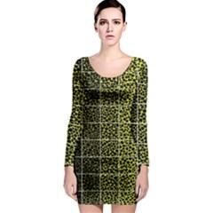 Pixel Gradient Pattern Long Sleeve Bodycon Dress