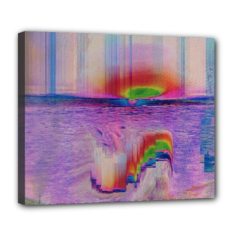 Glitch Art Abstract Deluxe Canvas 24  x 20