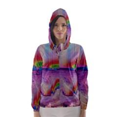 Glitch Art Abstract Hooded Wind Breaker (Women)