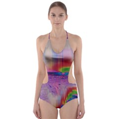 Glitch Art Abstract Cut Out One Piece Swimsuit