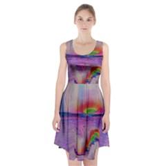 Glitch Art Abstract Racerback Midi Dress