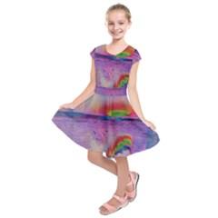 Glitch Art Abstract Kids  Short Sleeve Dress