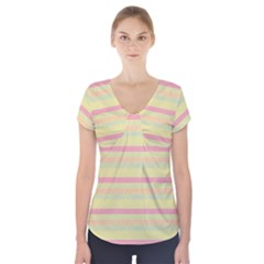 Lines Short Sleeve Front Detail Top