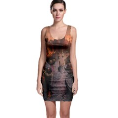River Venice Gondolas Italy Artwork Painting Sleeveless Bodycon Dress