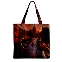 River Venice Gondolas Italy Artwork Painting Zipper Grocery Tote Bag