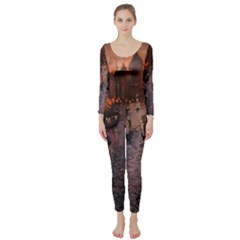 River Venice Gondolas Italy Artwork Painting Long Sleeve Catsuit