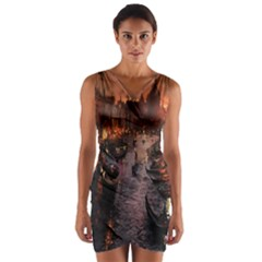 River Venice Gondolas Italy Artwork Painting Wrap Front Bodycon Dress