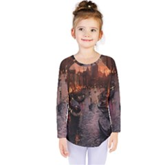 River Venice Gondolas Italy Artwork Painting Kids  Long Sleeve Tee