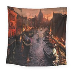 River Venice Gondolas Italy Artwork Painting Square Tapestry (large)