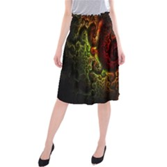 Fractal Digital Art Midi Beach Skirt