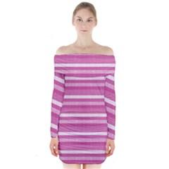 Lines Long Sleeve Off Shoulder Dress