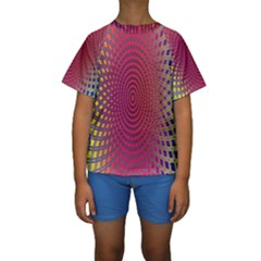 Abstract Circle Colorful Kids  Short Sleeve Swimwear