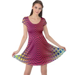 Abstract Circle Colorful Cap Sleeve Dresses