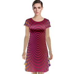 Abstract Circle Colorful Cap Sleeve Nightdress