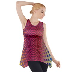 Abstract Circle Colorful Side Drop Tank Tunic