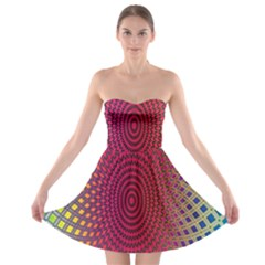 Abstract Circle Colorful Strapless Bra Top Dress