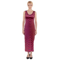 Abstract Circle Colorful Fitted Maxi Dress