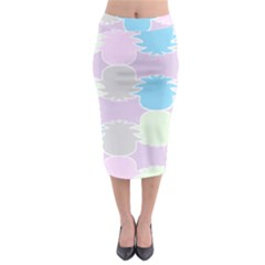 Pineapple Puffle Blue Pink Green Purple Midi Pencil Skirt