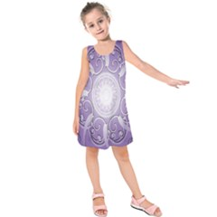 Purple Background With Artwork Kids  Sleeveless Dress