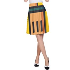 Trash Bin Icon Yellow A Line Skirt