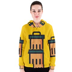 Trash Bin Icon Yellow Women s Zipper Hoodie