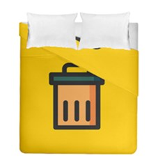 Trash Bin Icon Yellow Duvet Cover Double Side (full/ Double Size)