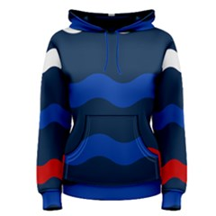 Wave Line Waves Blue White Red Flag Women s Pullover Hoodie